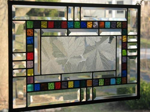 Sycamore and Bevels Stained Glass Window Panel. $95.00, via Etsy. by zelma