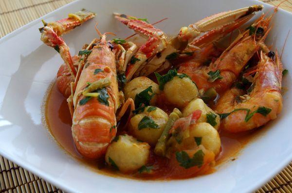 Dombrés aux crevettes et langoustines