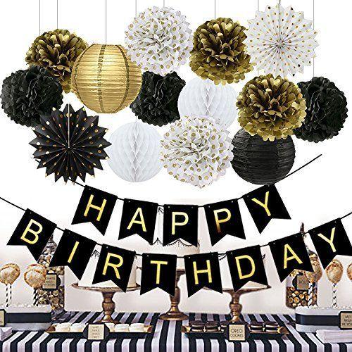 50th Birthday Party Decorations Black Happy Birthday Banner Paper Flowers Tissue Paper Pom Poms Paper Lanterns Paper Fans for Birthday Party