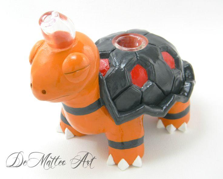 Pokemon Torkoal sculpture pipe. DeMatteo Art on Etsy and Facebook.