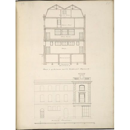 Designs for a house and shop building in Bedford Street, Plymouth, for Holman & Co.: side elevation and transverse section   RIBA