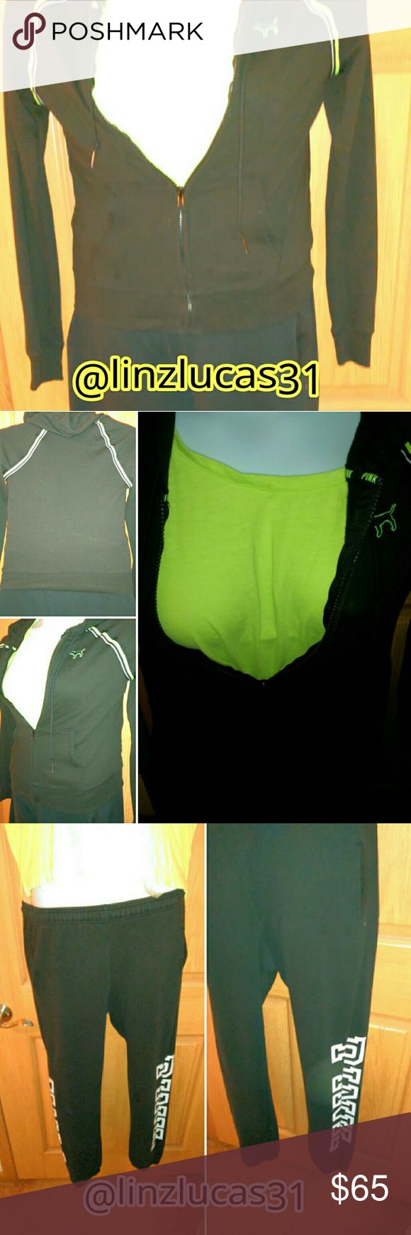 VSPINK szXS 3pc hoodie,open back tee&campus pants VSPINK szXS black and green full zip hoodie NWT, szXS open back tank top, and szXS black and white Campus pants, worn once, Very cute set PINK Victoria's Secret Other