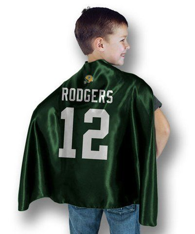Green Bay Packers Aaron Rodgers Hero Cape by Bleacher Creatures. $14.99. Officially licensed. Ages 3+. 100% polyester cape. Become the hero you always knew you were for your favorite team! This officially licensed Green Bay Packers Aaron Rodgers Superhero Cape gives you the look, the rest is up to you.  Sized for kids but adults can wear it too (will hit mid-back on adults).  Surface wash only.