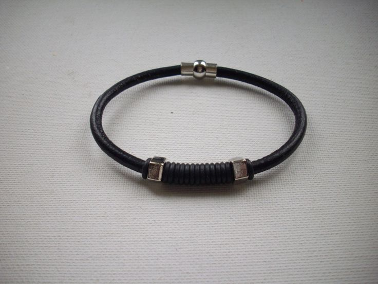 5mm Black Leather Bracelet with Black Rubber Bands Silver Faceted Slider Beads and Silver Magnetic Clasp by DesignsbyPattiLynn on Etsy