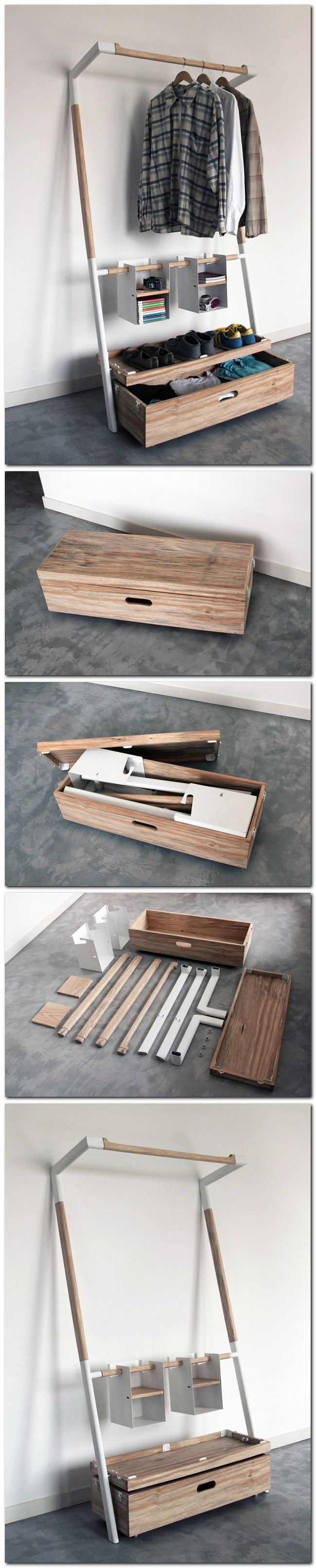 """Arara Nomade"" by Oboio Design Studio. Provides the Tools to Organize Your Wardrobe in a Compact Case. Designing the parts to assemble without the use of tools."