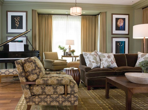 Innovation Living Room Use Dark Colors With Piano Paintings And As A Complementary Brown Sofa