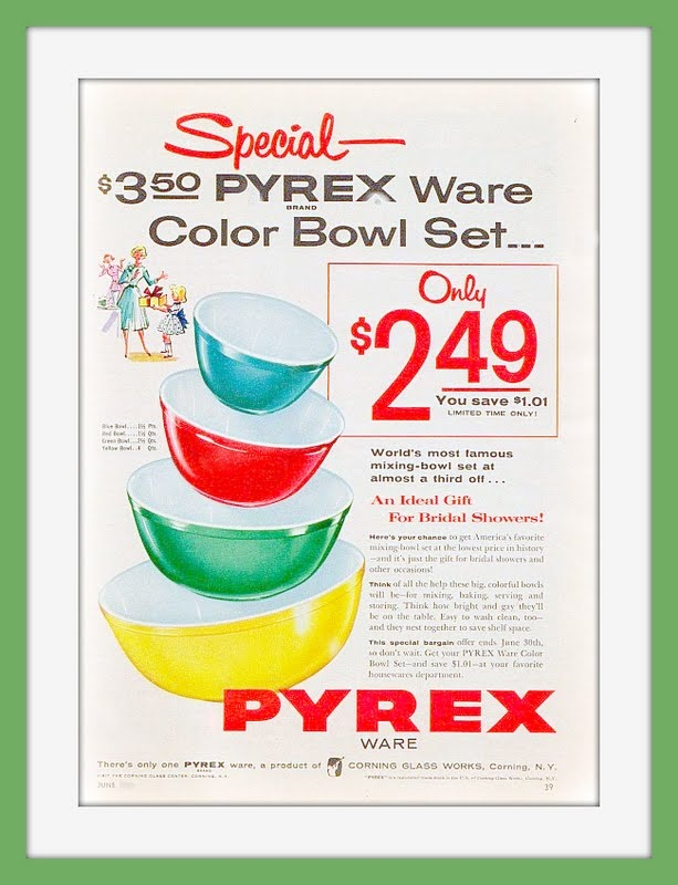 Mom's Pyrex Bowls.  I have paid more for these at yardsales!  Love the Pyrex bowls especially with glass lids.