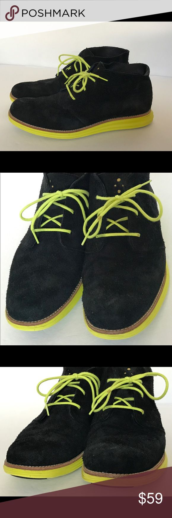 COLE HAAN Lunargrand Suede Chukka Boot SZ 9.5 Excellent Condition..   COLE HAAN Lunargrand Suede / Leather Chukka Boot   Size: 9.5   Color: Black / Neon Yellow Green   100% Genuine Suede   *** I'm a wardrobe stylist and these fabulous chukka's were purchased for a film and worn On set for a few scenes. They are in excellent condition, as shown in detailed pictures. Slight signs of wear on Suede and bottom soles, as shown in detailed pictures *** Cole Haan Shoes Chukka Boots