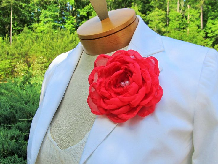 Coral Chiffon Flower Pin with White Beaded Pearl Center by BROWNIESBOWTIQUE on Etsy