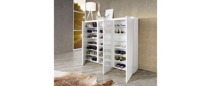 SCHUHSCHRANK Weiß - Weiß, MODERN, Holzwerkstoff (144/120/35cm) - XORA
