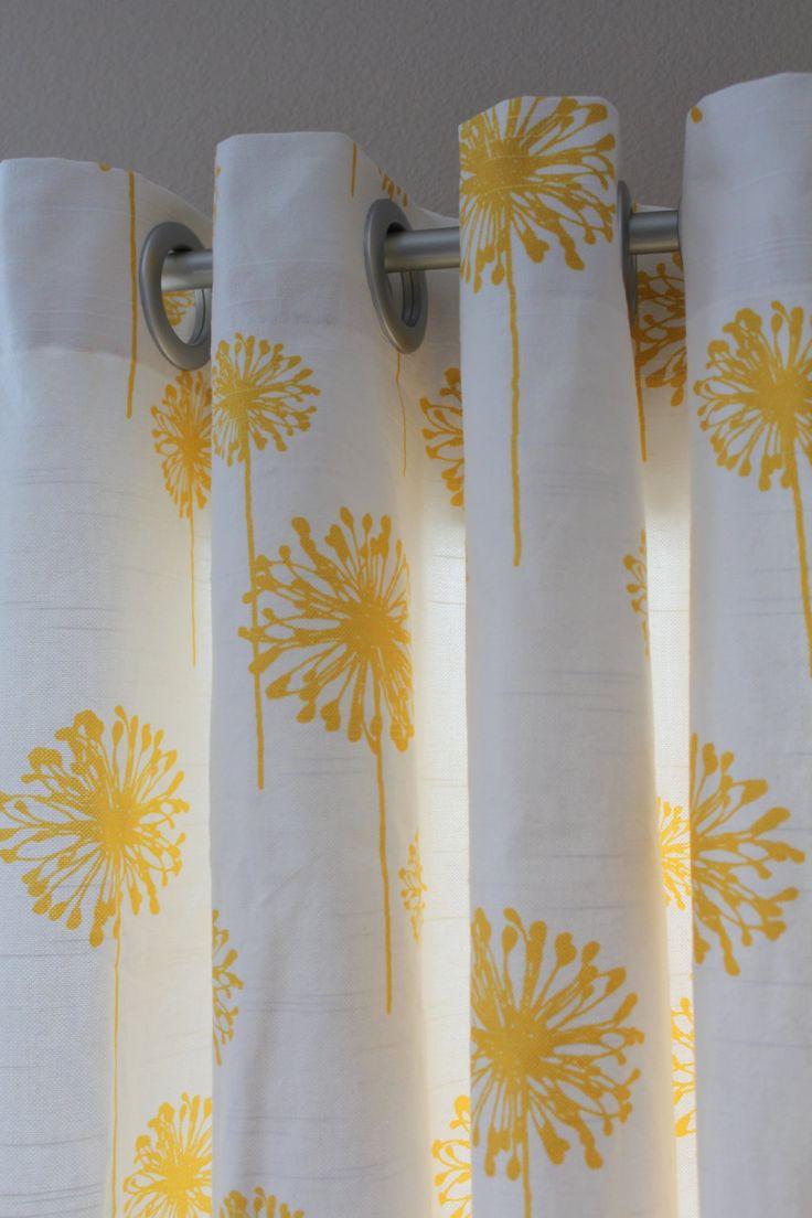 Grayson silver gray jacquard fabric cloth bathroom bath shower curtain - Pair Of Designer Custom Curtain Panels 50 X 84 Yellow Dandelion With Grommets 180 00