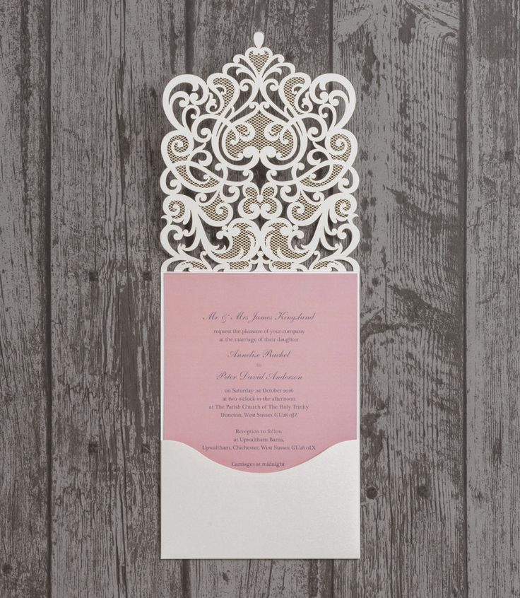 Diamante Laser Cut Pocketfold Personalised Wedding Invitation