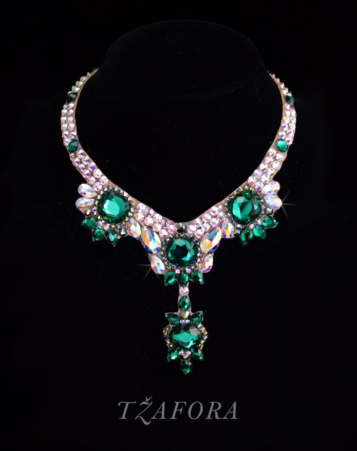 Beautiful vintage emerald stones!  Swarovski ballroom necklace. Ballroom jewelry, ballroom accessories. www.tzafora.com Copyright © 2014 Tzafora
