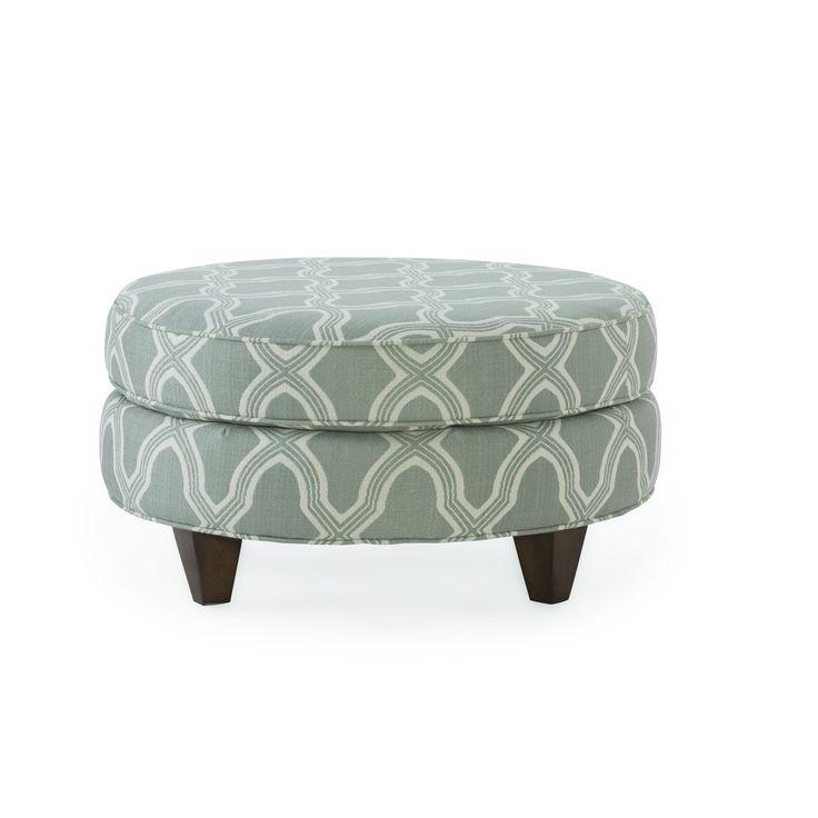 Homeware Bellemy Seafoam Fabric/Wood Round Ottoman (Seafoam)