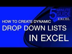 Excel Tutorial - How To Make Dynamic Drop-Down Lists - YouTube