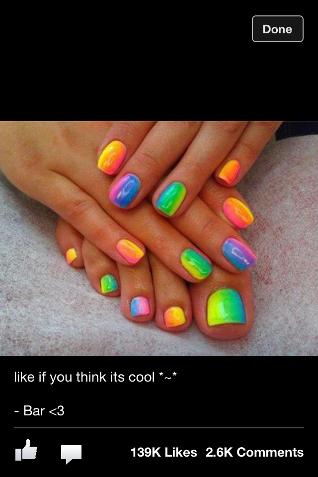 Rainbow mani pedi