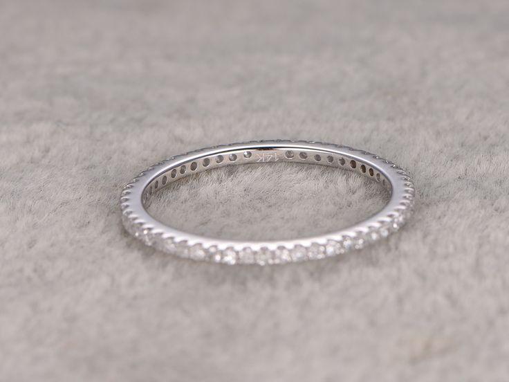 White Gold Diamond Wedding Rings For Her Thin Pave Full Eternity Band 14k Annivery Ring - BBBGEM