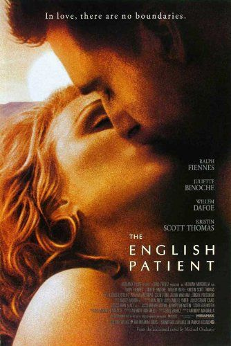 Directed by Anthony Minghella.  With Ralph Fiennes, Juliette Binoche, Willem Dafoe, Kristin Scott Thomas. At the close of WWII, a young nurse tends to a badly-burned plane crash victim. His past is shown in flashbacks, revealing an involvement in a fateful love affair.
