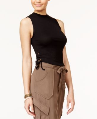 American Rag Juniors' Lace-Up Crop Top, Created for Macy's $9.93 American Rag's cute sleeveless top is cropped to perfection and finished with fun lace-up sides and a mock turtleneck.