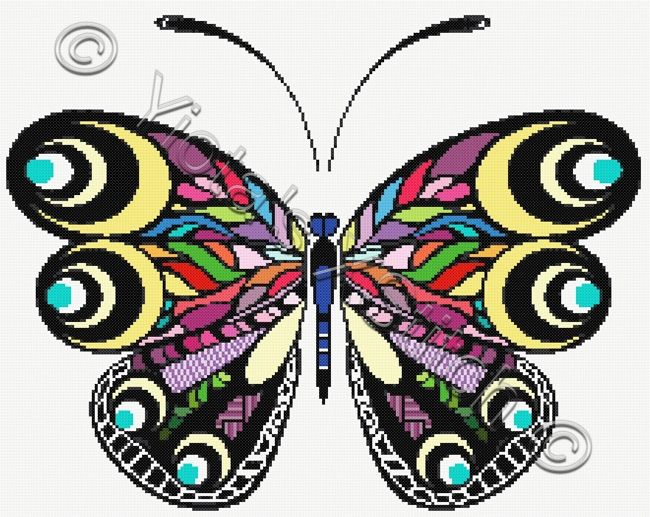 Rainbow butterfly cross stitch kit | Yiotas XStitch
