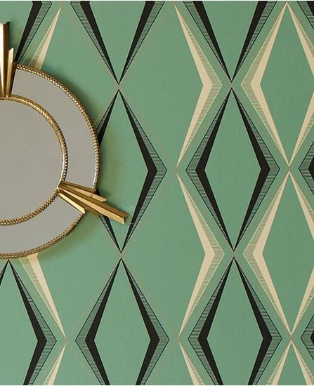 50-254 Hemingway Deco Diamond: Enamel Green Blue,Green,Dark Green,Cream Geometric Wallpaper