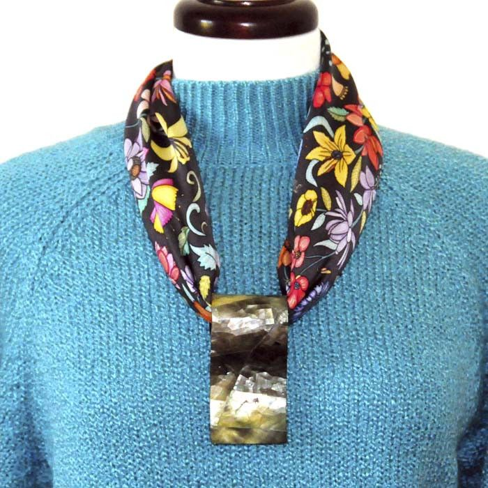 50 best scarf rings and scarf pendants by anne touraine paris scarf pendant in black mother of peal with the grey floral scarf two unique creations mozeypictures Choice Image