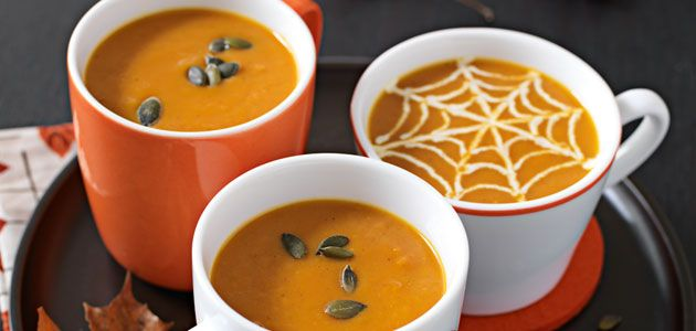 Curried pumpkin soup - something to do with halloween pumpkin! Another recipe -  http://www.jamieoliver.com/recipes/member-recipes/Pumpkin%20Soup%20with%20Coconut,%20Chilli%20and%20Curry%20Spices/2944