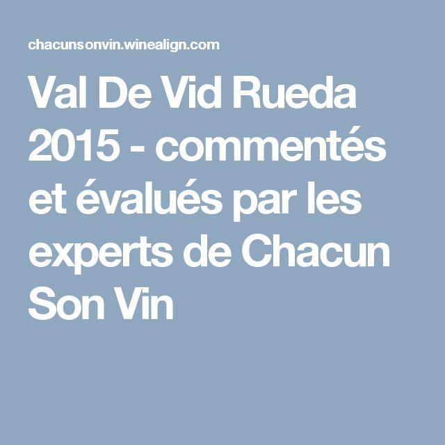 Val De Vid Rueda 2015 - commentés et évalués par les experts de Chacun Son Vin