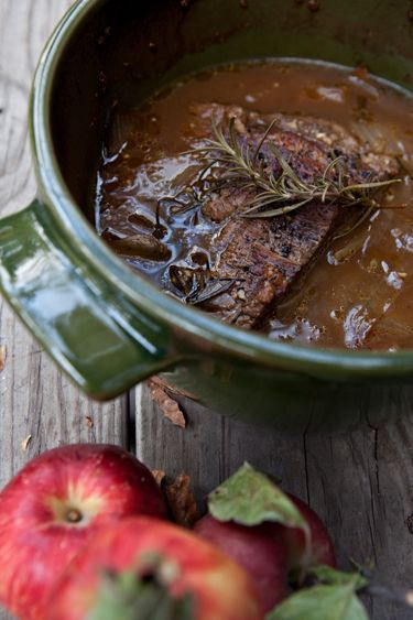 Apple Cider Braised Brisket...remember to use FRESH Apple Cider - usually available in the Fall - it makes a difference