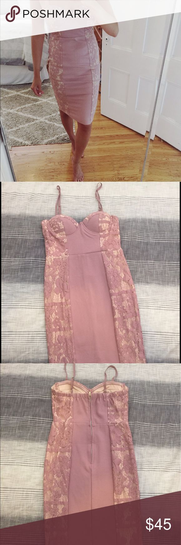 Mauve Bodycon Dress - Never worn! Bodycon midi dress for sale - amazing for weddings or any sort of cocktail party! Pretty dusty pink/mauve shade with nude lace underlay on sides. Thin adjustable straps. Bra inserts. Cup size was too small for me - never worn and no flaws! Angel Biba Dresses Midi