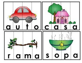 Spanish Word Puzzles Set 1. Rompecabezas de palabras de do