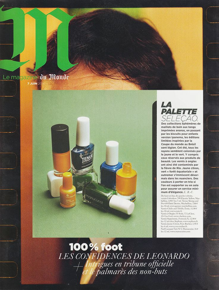 "The Manucurist's Vert n°3 nail polish is in M le magazine du Monde's ""Do Brazil"" selection. A #colourful publication in the spirit of the World Cup. #nailpolish #green #brasil #nails #npa #inspiration #beauty #worldcup"