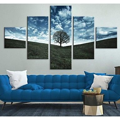 Stretched Canvas Art Sky Grassland And Tree Decoration Set of 5 – AUD $ 132.42