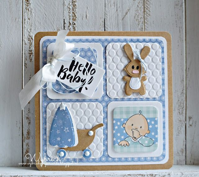 Handmade baby card by DT member Wybrich with Collectables Eline's Baby Animals (COL1422), Craftables Basic Square (CR1332) and Design Folder Dots (DF3431) from Marianne Design