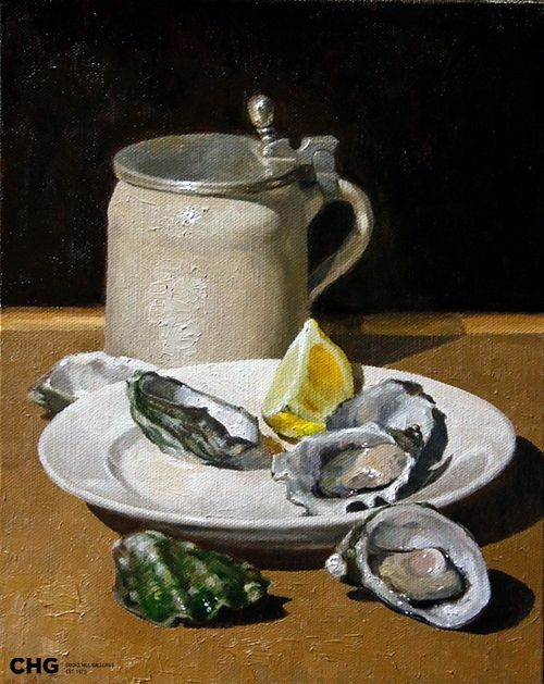 'Oysters and Stout' | Bruce Rowland  is a #CHG  #painter focused on the figurative - nude and semi nude, still life and interiors. Browse and buy #art: http://goo.gl/Uv6Nev #australianart