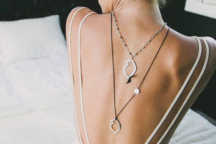 Layer Love: Perfect Phoebe Pendant on Cotton and Signature Phoebe Necklace. #GemmaColesJewellery #AudaciousPhoebe #fashion #style