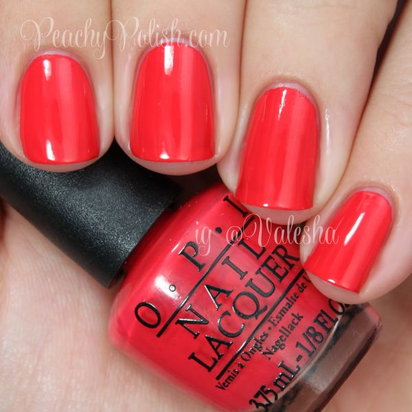 """OPI """"Cajun Shrimp"""" is a sublime balance of red, pink and orange that goes with everything."""