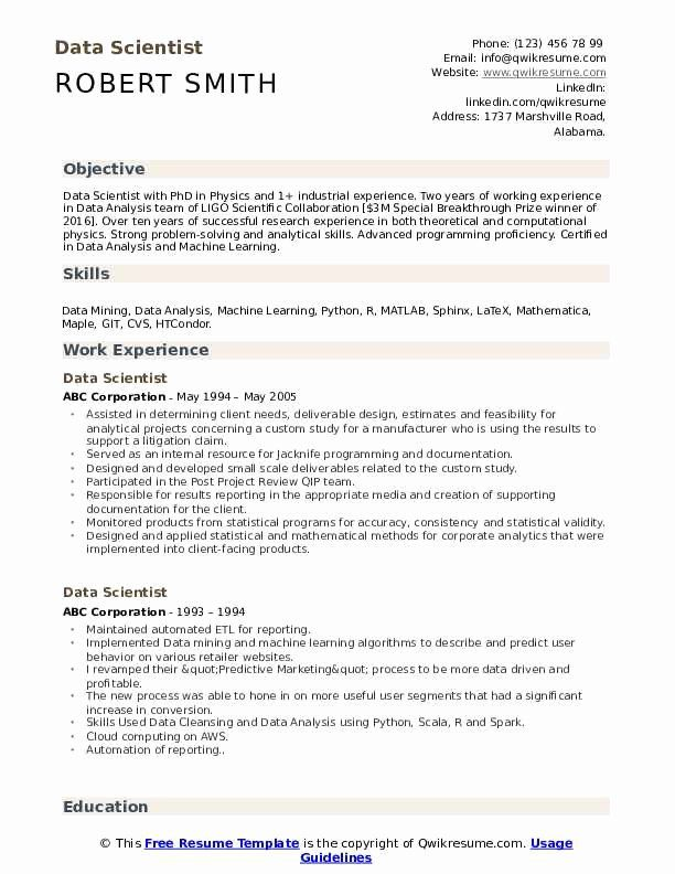Data Science Resume Examples Elegant Data Scientist Resume Samples Good Resume Examples Resume Examples Job Resume Examples