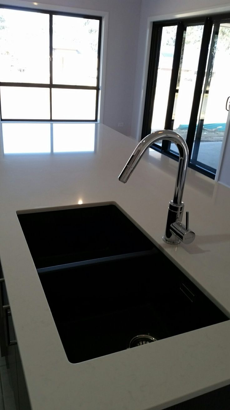 Black Blanco double bowl sink. Essa stone benchtop