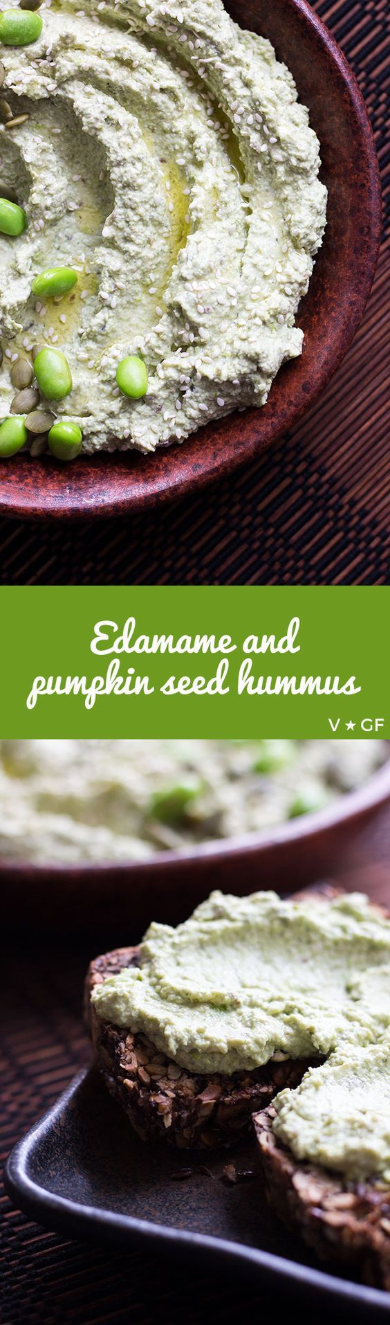 A non-traditional but satisfying and familiar tasting edamame hummus made with nutritious edamame beans and pumpkin seeds. via @quitegoodfood