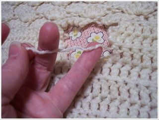 repairing a crochet blanket....just in case