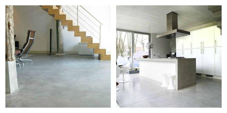 Woonbeton: Deze betonvloer heeft een industriële uitstraling en een gewolkt effect.