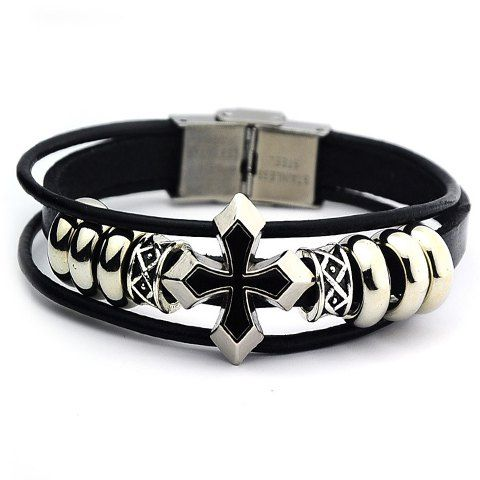 Stylish Cross Faux Leather Bracelet For Men