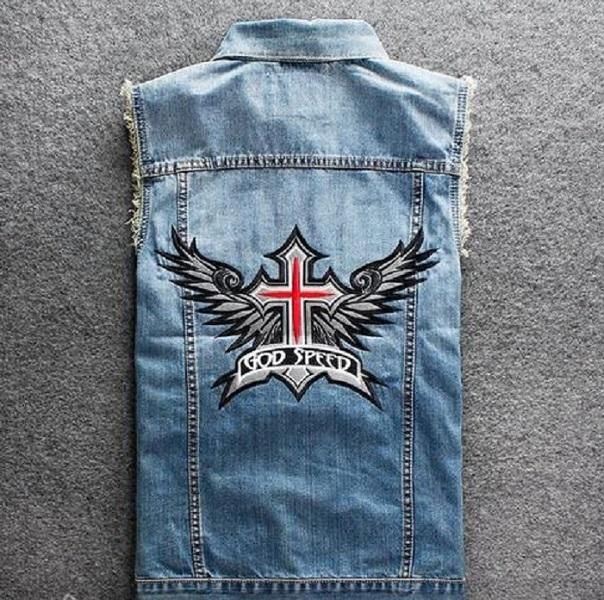 "Men's Blue Denim ""God Speed"" Print Biker Vest"