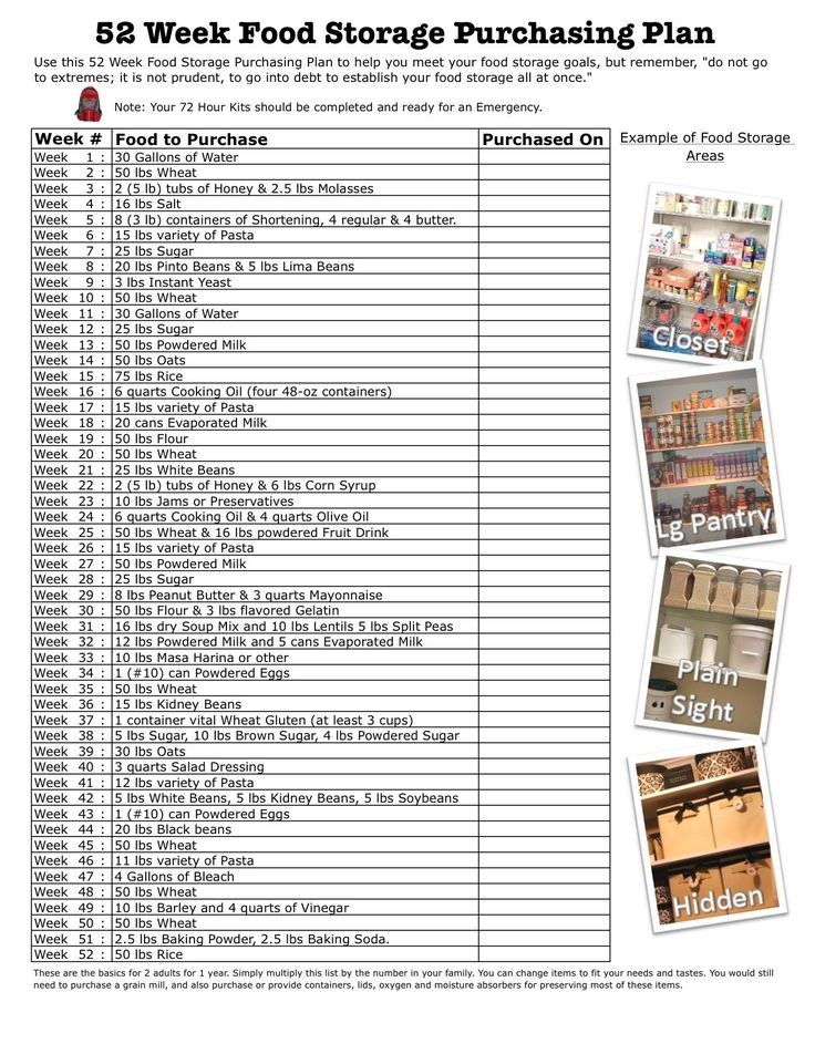 52 week food storage purchasing plan