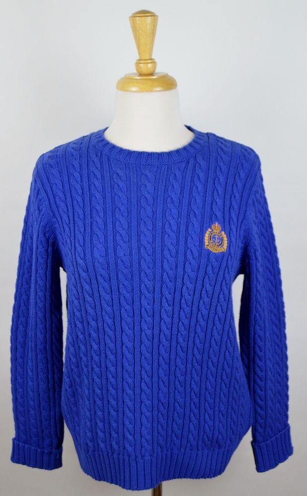 Lauren Ralph Lauren Women's Blue Cotton Cable Knit Sweater Gold Crest P/P #LaurenRalphLauren #Crewneck
