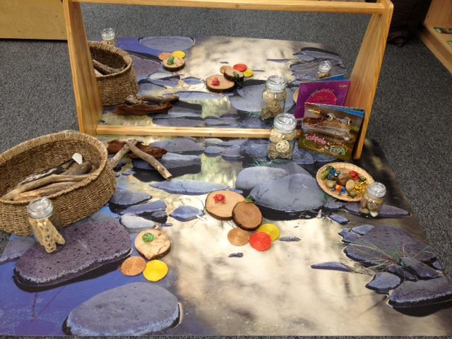 "Natural pond environment made by Kaylee Moncrieff, shared by Wagga Wagga Early Years Learning Centre ("",)"