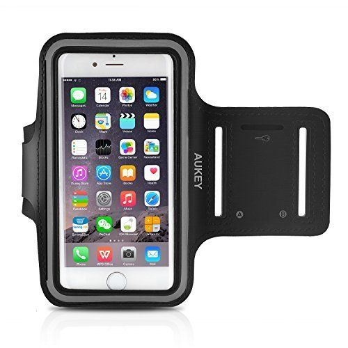 AUKEY iPhone 6s Plus Sports Armband, Sweatproof Phone Case with Headphone and Key Holder for iPhone 6/6s/Plus and Smaller Phones (5.5-Inch)