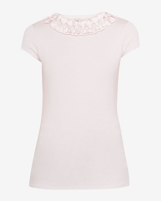 00154e6ed46dc0 Ted Baker CHARRE Bow neck trim T-shirt in NUDE-PINK 🎀