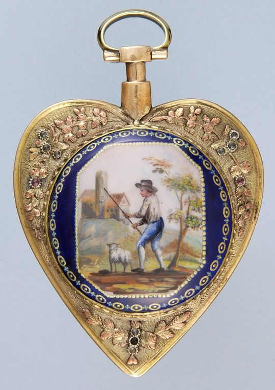 Antique Pocket Watches - Unusual Heart Shaped Gilt and Enamel
